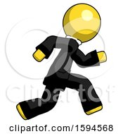 Yellow Clergy Man Running Fast Right