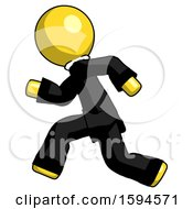 Yellow Clergy Man Running Fast Left