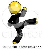 Yellow Clergy Man Kick Pose
