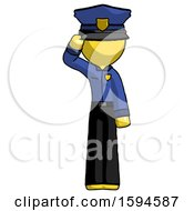 Yellow Police Man Soldier Salute Pose