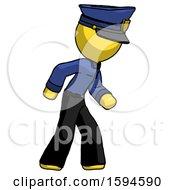Yellow Police Man Suspense Action Pose Facing Right
