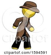 Yellow Detective Man Suspense Action Pose Facing Right