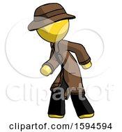 Yellow Detective Man Suspense Action Pose Facing Left