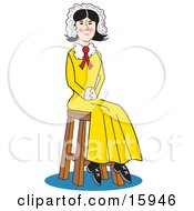 Pretty Colonial Girl Wearing A Bonnet Over Her Hair And A Yellow Dress Seated On A Stool With Her Hands In Her Lap