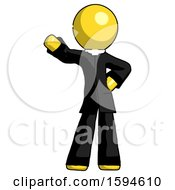 Yellow Clergy Man Waving Right Arm With Hand On Hip
