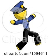 Yellow Police Man Running Away In Hysterical Panic Direction Right