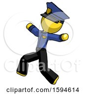 Yellow Police Man Running Away In Hysterical Panic Direction Left