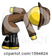 Yellow Detective Man Picking Something Up Bent Over