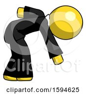 Yellow Clergy Man Picking Something Up Bent Over