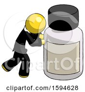 Yellow Clergy Man Pushing Large Medicine Bottle