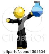 Yellow Clergy Man Holding Large Round Flask Or Beaker