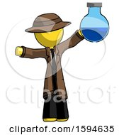 Yellow Detective Man Holding Large Round Flask Or Beaker
