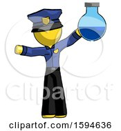 Yellow Police Man Holding Large Round Flask Or Beaker