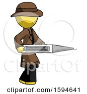 Yellow Detective Man Walking With Large Thermometer