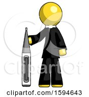 Yellow Clergy Man Standing With Large Thermometer