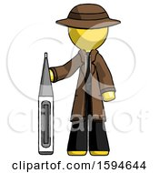 Yellow Detective Man Standing With Large Thermometer