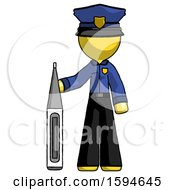 Yellow Police Man Standing With Large Thermometer