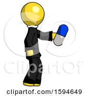 Yellow Clergy Man Holding Blue Pill Walking To Right