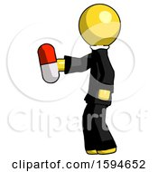 Yellow Clergy Man Holding Red Pill Walking To Left