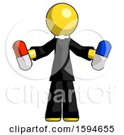 Yellow Clergy Man Holding A Red Pill And Blue Pill