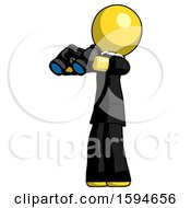 Yellow Clergy Man Holding Binoculars Ready To Look Left