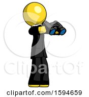 Yellow Clergy Man Holding Binoculars Ready To Look Right