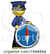 Yellow Police Man Standing Beside Large Compass
