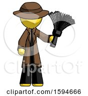 Yellow Detective Man Holding Feather Duster Facing Forward