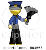 Yellow Police Man Holding Feather Duster Facing Forward