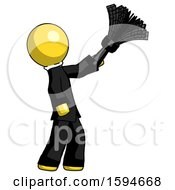 Yellow Clergy Man Dusting With Feather Duster Upwards
