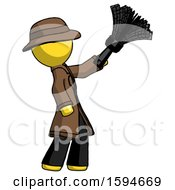 Yellow Detective Man Dusting With Feather Duster Upwards