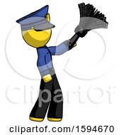 Yellow Police Man Dusting With Feather Duster Upwards