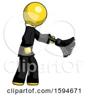 Yellow Clergy Man Dusting With Feather Duster Downwards