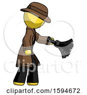 Yellow Detective Man Dusting With Feather Duster Downwards