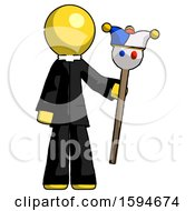 Yellow Clergy Man Holding Jester Staff