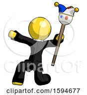 Yellow Clergy Man Holding Jester Staff Posing Charismatically