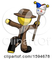 Yellow Detective Man Holding Jester Staff Posing Charismatically