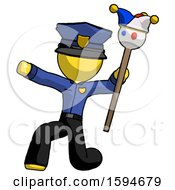 Yellow Police Man Holding Jester Staff Posing Charismatically