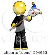 Yellow Clergy Man Holding Jester Diagonally