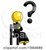 Yellow Clergy Man Question Mark Concept Sitting On Chair Thinking