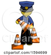 Yellow Police Man Holding A Traffic Cone