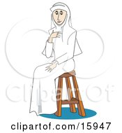 Poster, Art Print Of Pretty Female Nun Dressed All In White Holding One Hand Up To Her Chest And Sitting On A Stool
