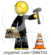 Yellow Clergy Man Under Construction Concept Traffic Cone And Tools