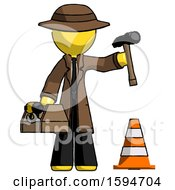 Yellow Detective Man Under Construction Concept Traffic Cone And Tools