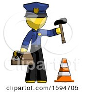 Yellow Police Man Under Construction Concept Traffic Cone And Tools