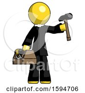 Yellow Clergy Man Holding Tools And Toolchest Ready To Work