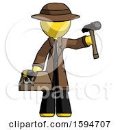 Yellow Detective Man Holding Tools And Toolchest Ready To Work