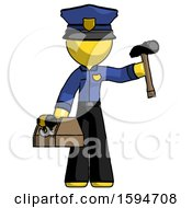 Yellow Police Man Holding Tools And Toolchest Ready To Work