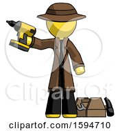 Yellow Detective Man Holding Drill Ready To Work Toolchest And Tools To Right