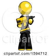 Yellow Clergy Man Holding Large Drill